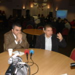 Ara Sarafian and Sabri Atman with Turkish press, Assyrian genocide conference in London, UK, October 21, 2007.