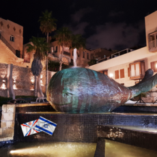"""The Smiling Whale"" by Ilana Gur in the Old City of Yafo (Jaffa)."